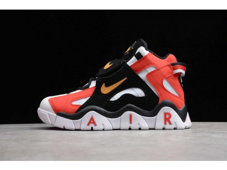 Nike Air Barrage Mid QS White Black Red Metal Gold CD9329-008 Men and Women-20