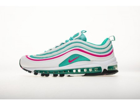 "Nike Air Max 97 ""South Beach"" White Pink Blast Kinetic Green 921522 101 Men and Women"