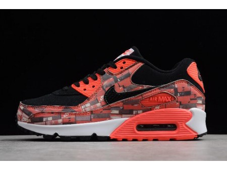 Atmos x Nike Air Max 90 Print We Love Nike Black/Bright Crimson-White AQ0926-001 Men Women-20