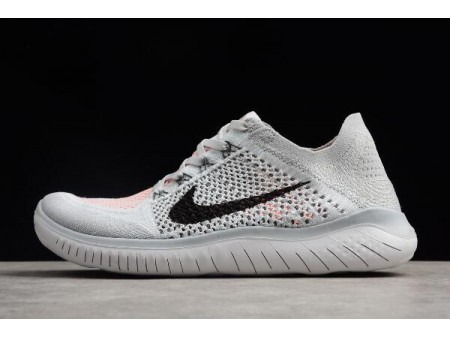 Nike Free Run Flyknit 2018 Pure Platinum/Black-White Running Shoes 942838-003 Men-20