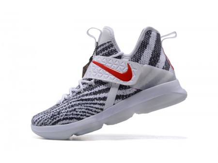 Nike LeBron 14 Zebra Stripes White/Black-University Red Men-20