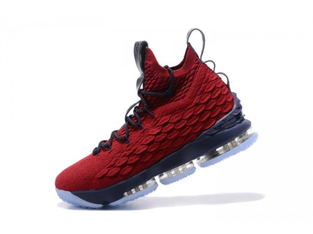 Nike LeBron 15 Burgundy/Navy Blue Basketball Shoes Men-20