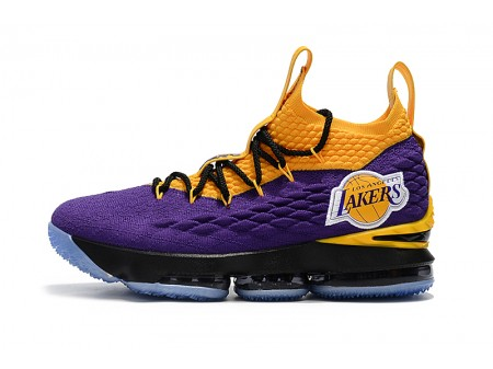 Nike LeBron 15 'Lakers' Purple Yellow Black Basketball Shoes Men