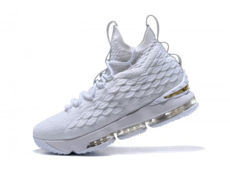Nike LeBron 15 White/Metallic Gold Basketball Shoes Men-20
