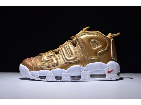 Supreme X Nike Air More Uptempo Air Gold 902290-700 for Men