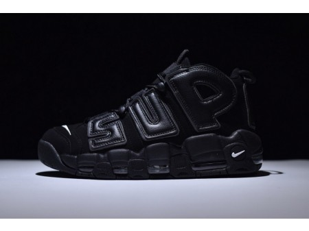 Supreme X Nike Air More Uptempo Air All Black 902290-001 for Men