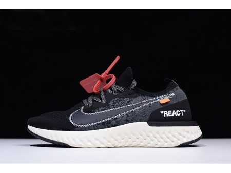 Off-White x Nike Epic React Flyknit Black/White AQ0067-010 Men-20