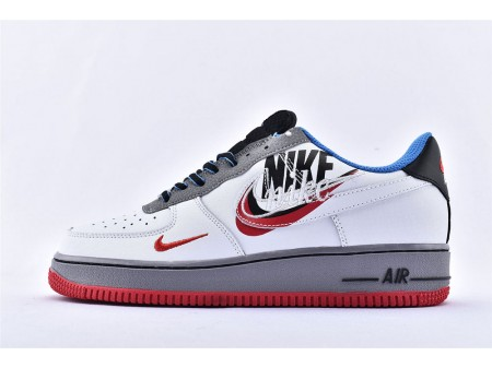 Nike Air Force 1 07 Low Stickerei Logo Grau Weiß Blau Rot AO2441-100 Herren Damen-20