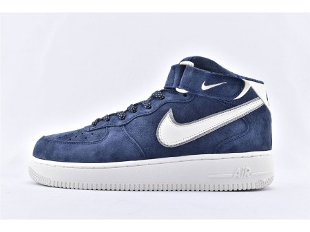 Nike Air Force 1 07 Mid Daim 3M Bleu Foncé AA1118-007 Hommes Femmes-20