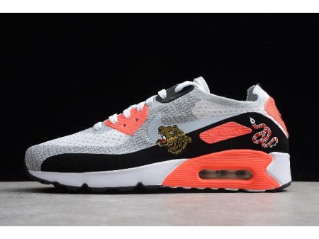 Nike Air Max 90 Ultra 2.0 Flyknit Bright Cramoisi Infrarouge/Blanc-Gris loup 875943-004 Homme-20